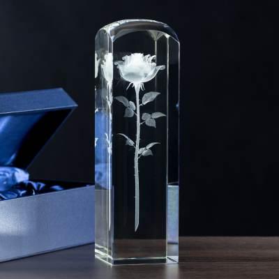 Róża 3D w szkle Prezent dla Taty