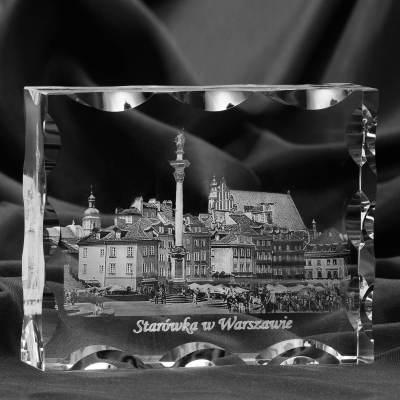 Starówka warszawska 3D w krysztale
