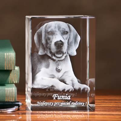 Pies 3D statuetka kryształowa