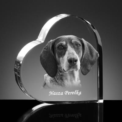 Pies wygrawerowany w szklanym sercu
