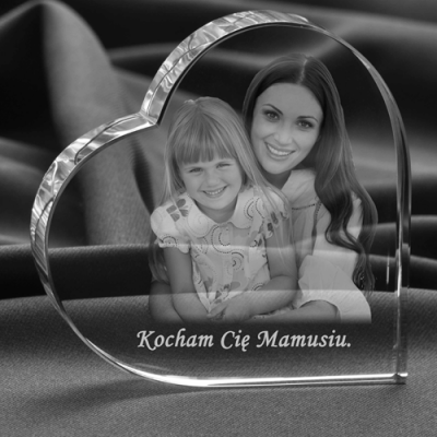Zdjęcie w kryształowym sercu dla mamy
