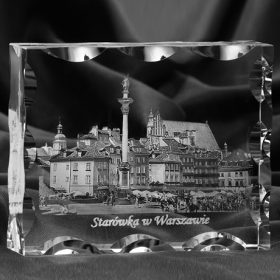 Zdjęcie Starówki w Warszawie - GRAWER 3D w krysztale