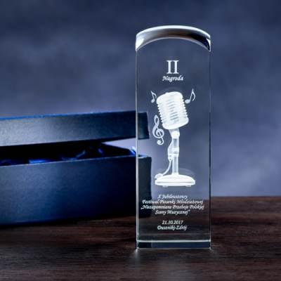 Statuetka dla muzyka - mikrofon 3D, średnia statuetka