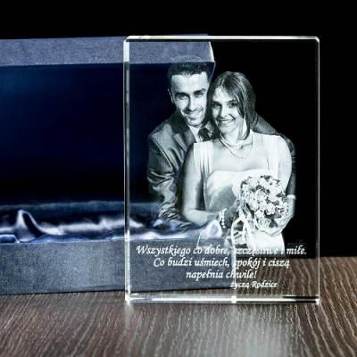 Pamiątka na ślub - FOTOPREZENT 2D w krysztale