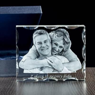 Pamiątka na rocznicę ślubu, zdjęcie 3D w krysztale