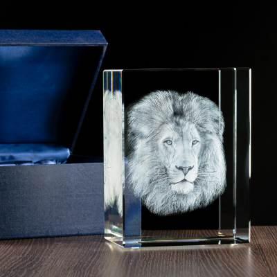 -MEGASTATUETKA- Trójwymiarowy lew w krysztale