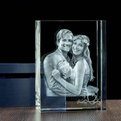 -MEGASTATUETKA- Kryształ na ślub, personalizowany zdjęciem (3D) oraz dedykacją