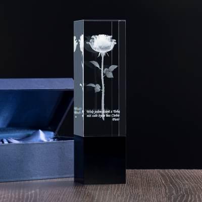 Prezent na Walentynki - Róża 3D wygraweowana w szkle