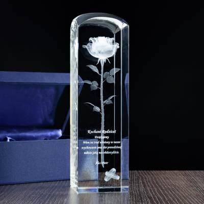 Róża 3D Podziękowania dla rodziców w szkle