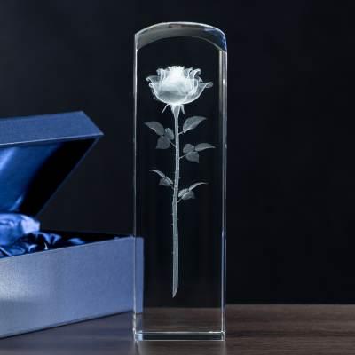 Prezent ślubny Róża 3D w kryształowej kolumnie