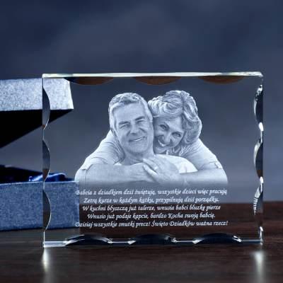 Prezent dla dziadków ~ Fotoprezent w kryształowej statuetce