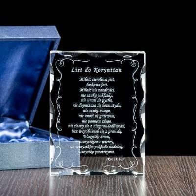 Kryształowa pamiątka na prymicję - List do Koryntian w krysztale