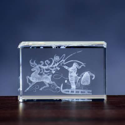 Zaprzęg Mikołaja - kryształowa statuetka