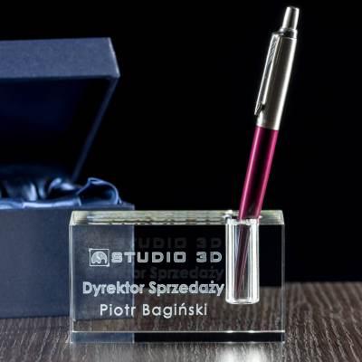 Kryształowy gadget - podstawka na długopis dla taty