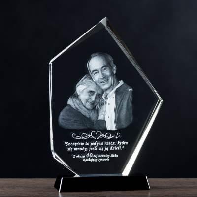 Zdjęcie w krysztale na prezent na rocznicę 20 30 40 50