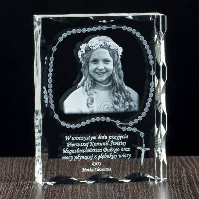 Różaniec 3D oraz zdjęcie - grawer w krysztale