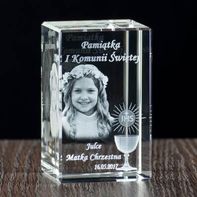 Kryształ pamiątkowy na komunię