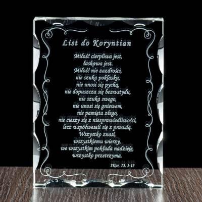List do koryntian wygrawerowany w krysztale