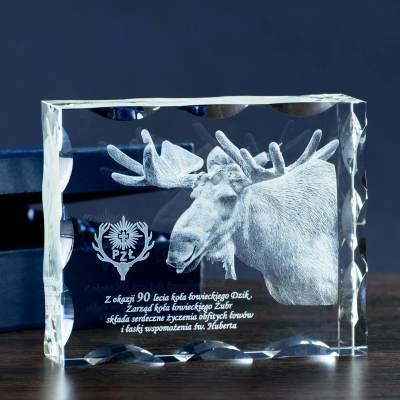 Łoś - zdjęcie 3D w kryształowej statuetce