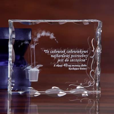 Piękny storczyk 3D wygrawerowany w ozdobyn krysztale z możliwością personalizacji