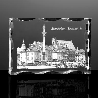 Starówka w Warszawie - statuetka 3D w krysztale