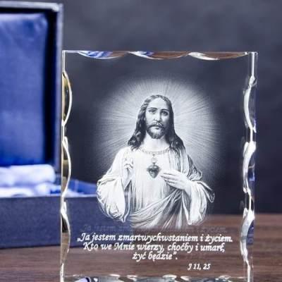 Prezent dla katechety - trójwymiarowy obraz Jezusa w szkle