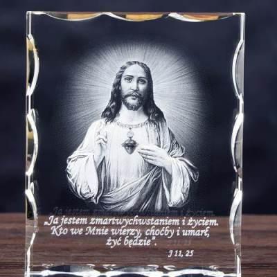 Trójwymiarowe (3D) zdjęcie Jezusa w szklanej statuetce