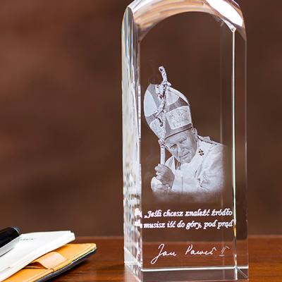 Papież Jan Paweł II zdjęcie w krysztale