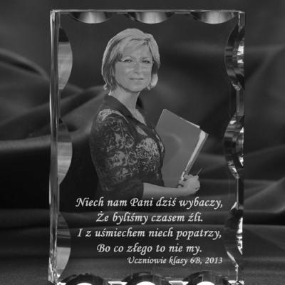 Zdjęcie 2D w krysztale - Prezent dla wychowawcy na zakończenie roku