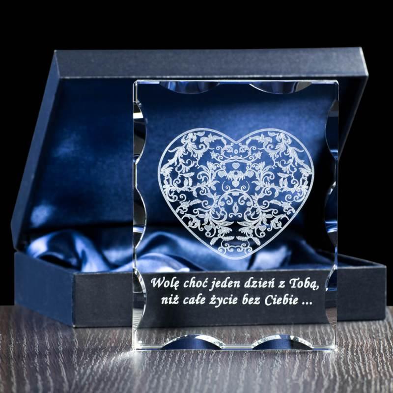 Ażurowe serce 3D grawer w krysztale