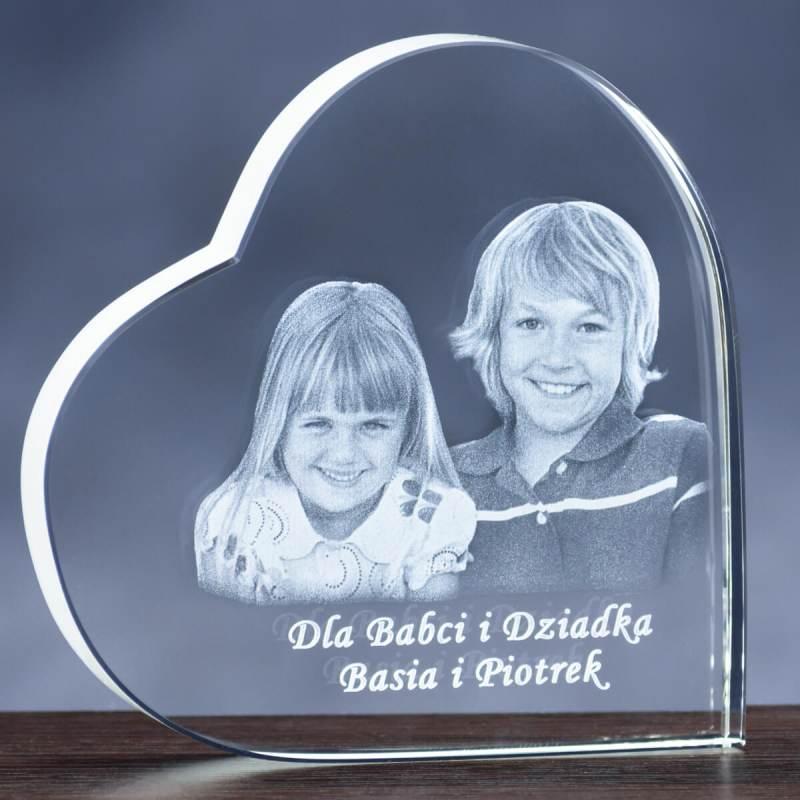 Zdjęcie w kryształowym sercu dla Babci i Dziadka. GRAWER 2D
