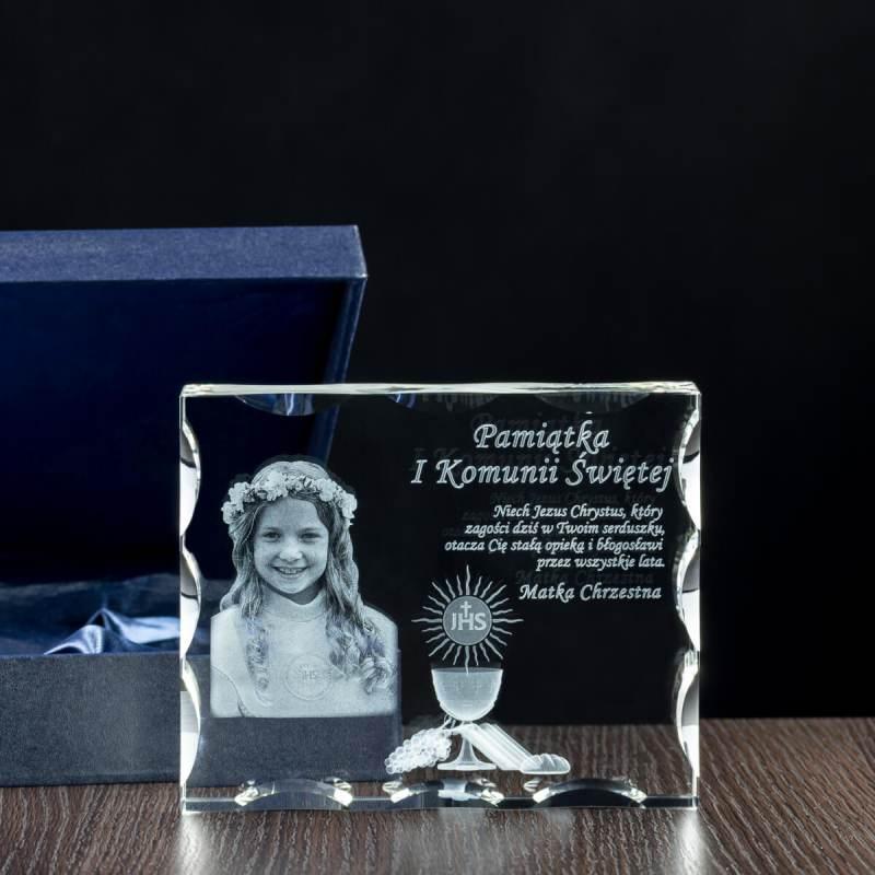 Kryształ szlifowany z personalizowanym grawerem na komunię