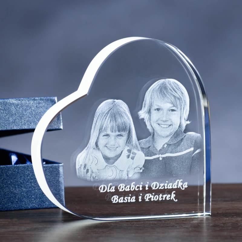 kryształowe serce 2d prezent dla dziadków