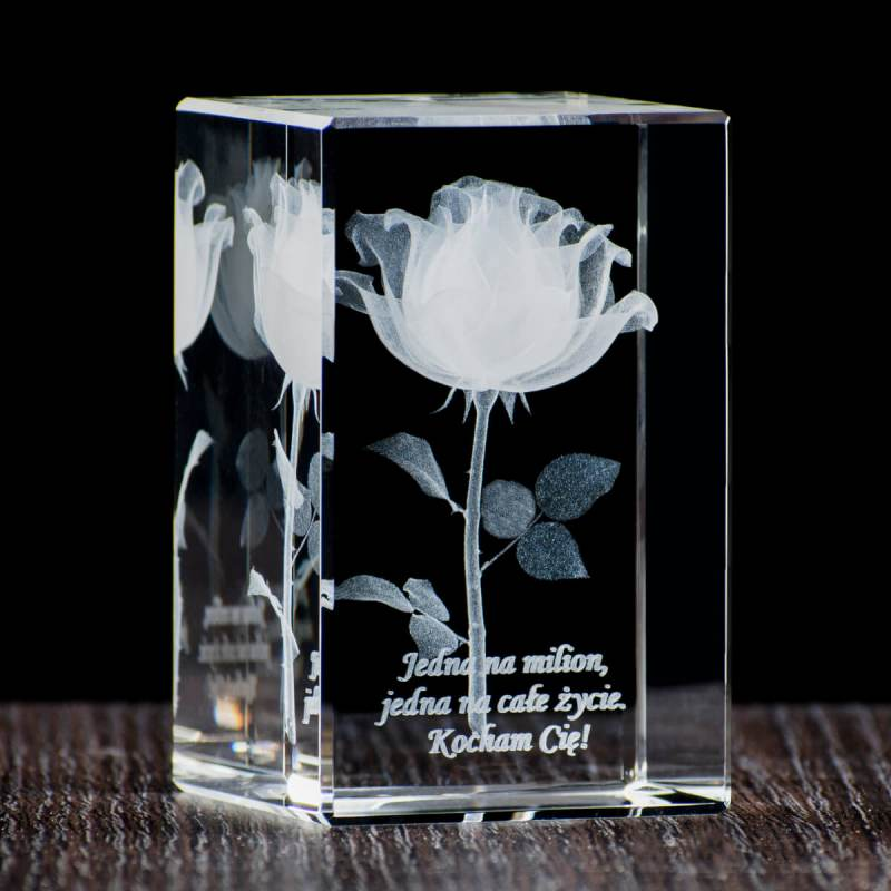 Promocyjny kryształ róża 3D Kocham CIe mamo