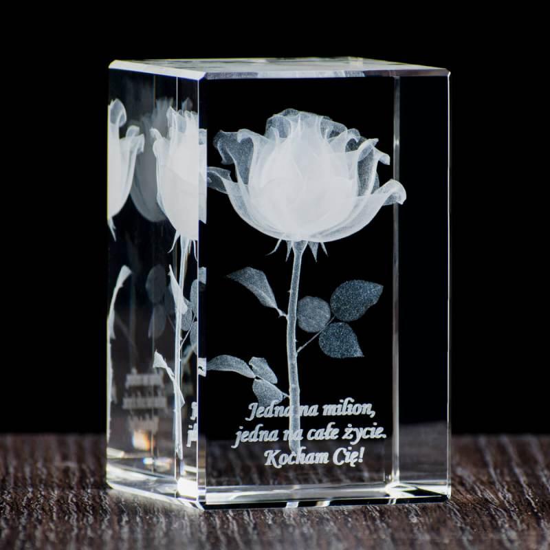 Róża z dedykacją kocham Cię