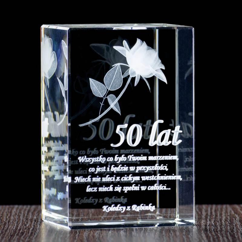Róża 3D z dedykacją dla kolegi z pracy