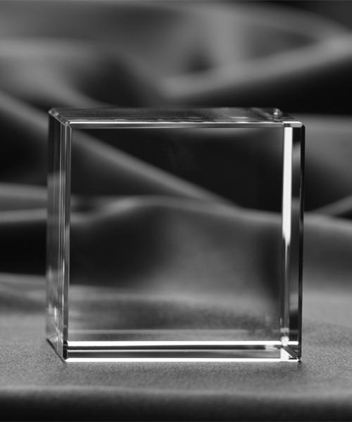Sześcian Prosty - statuetka kryształowa