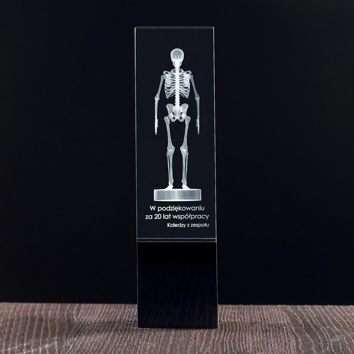 Szkielet 3D w szkle: statuetka